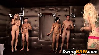 Swingers having light party in reality show