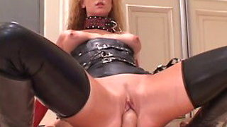 Fabulous pornstar Audrey Hollander in horny latex, dildos/toys adult scene