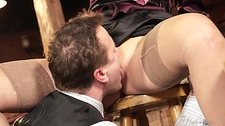 Lustful blonde Sweet Kat enjoys rear banging with a barman