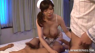 Very naughty milf nurse Anri Okita gets drilled in a hot mmf banging