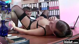 hot brunette secretary seduces her boss