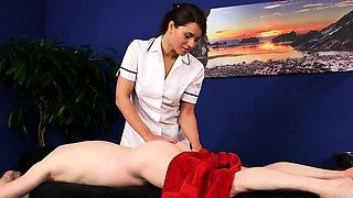 Uniformed nurse domina jerks
