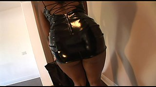 Girls in leather and latex use a black guy for satisfaction