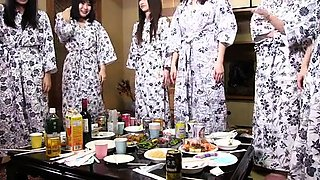 Lucky Japanese guy getting serviced by a gang of horny girls