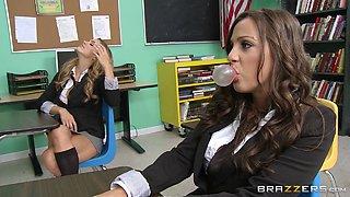 Two hot lesbian students seduce their teacher with huge dildo