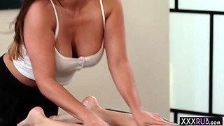 Two hot oiled lesbians massage and passion fingering