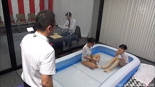 Nasty slippery foursome session with two cute Asian babes