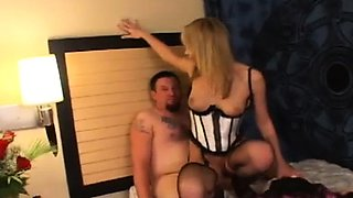 Naked beauty facesitting dude during female domination show