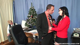 Her job interview consists of a gangbang with three guys