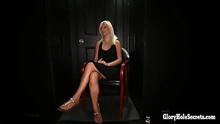 sexy blonde loves sucking off strangers and eating cum in random gloryhole