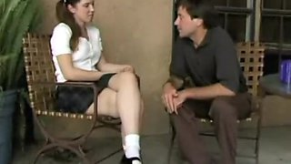 Barely Legal schoolgirl Brandy masturbates for uncle Bill who fuckes her as