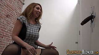 gloryhole babe gulps cum masturbation