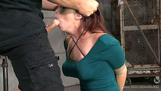 Bound red haired cutie with big tits Bella Rossi got mouth fucked by duo of freaks
