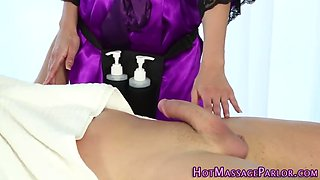 busty masseuse facialized