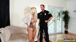 Curvy blonde Yello bends over for a policeman's fat tool