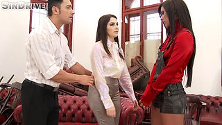 Naughty boss parades her servants to attend to an emergency of him getting horny