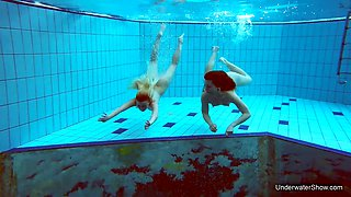 Nasty chick Katrin Bulbul and her GF are stripping under the water