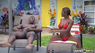 Sinful busty ebony hottie Lola Chanel lures buddy to be fucked outdoors
