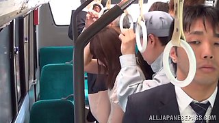 A shameless couple gets their fuck on in a public tram car