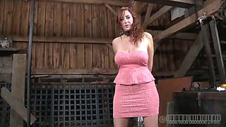 Red haired slut in pink dress gets her hands tied behind her back