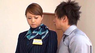 Stewardess Akiho Yoshizawa works magic with her feet in pantyhose