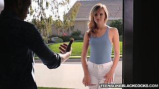 Blonde babe Jillian Janson takes on a big black monster