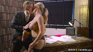 busty blonde seduces her boss