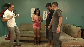 Sinful Asian chick Lucky Starr is attacked with three hard poles