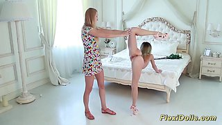 extreme hot skinny real flexible teen gets stretched like a contortion doll
