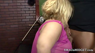 Blonde midget gal fucked by a hunky guy