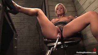 blonde in high heels gets machine banged