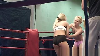 Euro Dykes Wrestling Naked In A Boxing Ring