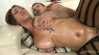 Saggy tittied oiled up chick with heavy ass gets fucked by horny dude