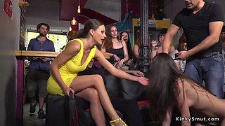 Mistress fists teen in public bar