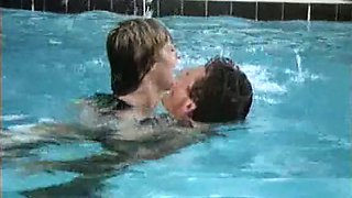 Fine and lean blonde white milf by the pool enjoys cunnilingus