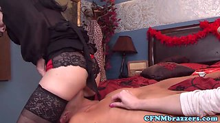 Emily Austin and pals in cfnm group sex
