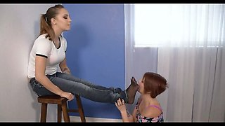 Mistress has her feet smelled and licked by her slave