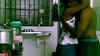 Indian amateur housewife was caught on cam while being poked in kitchen