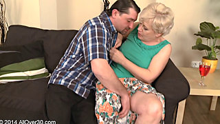 Horny granny Mimi sucks and fucks