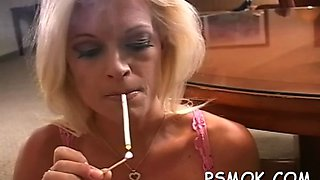 busty babe smoking naked sexy