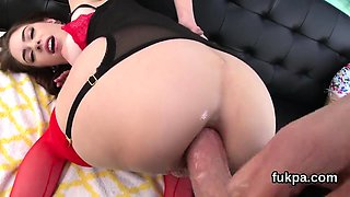 Gorgeous honey reveals big ass and gets asshole reame84Opv