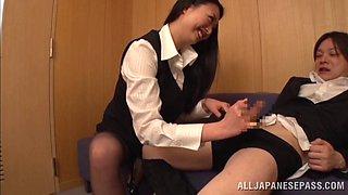 Long haired Japanese office girl banged hardcore by her boss
