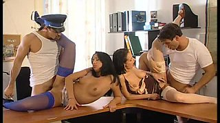 Brunettes Michelle Wild and Adrianna Ruso Get DP In Police Station