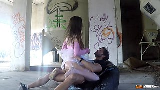 Beautifull babe gets molested outdoors till she swallows his cum