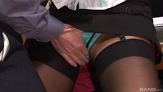Brunette MILF agrees to fuck with her boss in the office