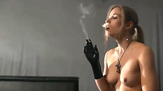 smoking girl nice tits