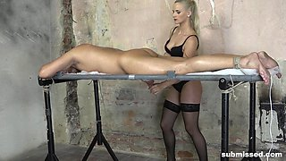 Mistress Katy Sky milks her slave's cock after tying him up
