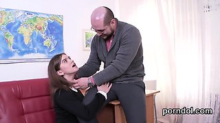Fervent schoolgirl is seduced and poked by her senior tutor