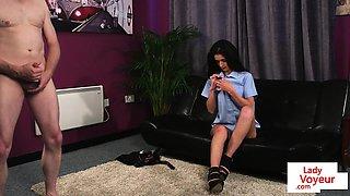 Brit schoolgirl voyeur strips in front of sub