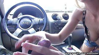 POVLife Skinny blonde babe sucks cock in the car
